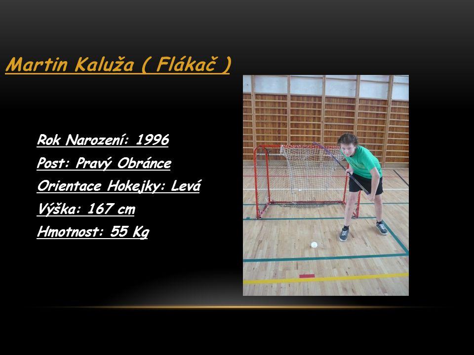 Martin Kaluža ( Flákač ) Rok Narození: 1996 Post: Pravý Obránce Orientace Hokejky: Levá Výška: 167 cm Hmotnost: 55 Kg