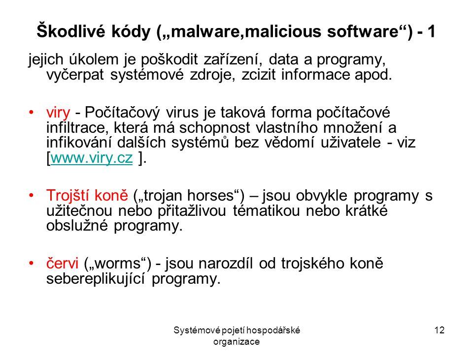 """Systémové pojetí hospodářské organizace 12 Škodlivé kódy (""""malware,malicious software ) - 1 jejich úkolem je poškodit zařízení, data a programy, vyčerpat systémové zdroje, zcizit informace apod."""