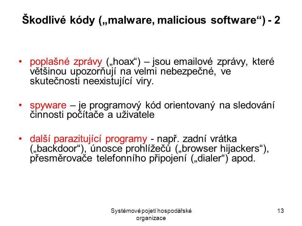 """Systémové pojetí hospodářské organizace 13 Škodlivé kódy (""""malware, malicious software ) - 2 poplašné zprávy (""""hoax ) – jsou emailové zprávy, které většinou upozorňují na velmi nebezpečné, ve skutečnosti neexistující viry."""