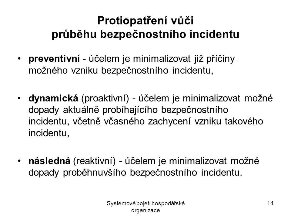 Systémové pojetí hospodářské organizace 14 Protiopatření vůči průběhu bezpečnostního incidentu preventivní - účelem je minimalizovat již příčiny možného vzniku bezpečnostního incidentu, dynamická (proaktivní) - účelem je minimalizovat možné dopady aktuálně probíhajícího bezpečnostního incidentu, včetně včasného zachycení vzniku takového incidentu, následná (reaktivní) - účelem je minimalizovat možné dopady proběhnuvšího bezpečnostního incidentu.