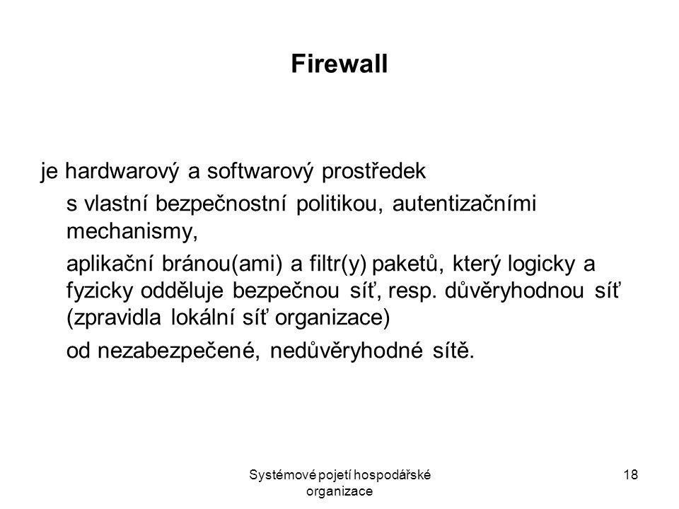 Systémové pojetí hospodářské organizace 18 Firewall je hardwarový a softwarový prostředek s vlastní bezpečnostní politikou, autentizačními mechanismy, aplikační bránou(ami) a filtr(y) paketů, který logicky a fyzicky odděluje bezpečnou síť, resp.