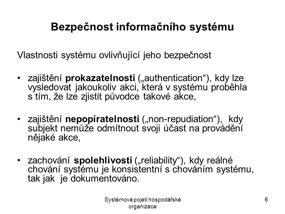 """6 Bezpečnost informačního systému Vlastnosti systému ovlivňující jeho bezpečnost zajištění prokazatelnosti (""""authentication""""), kdy lze vysledovat jako"""