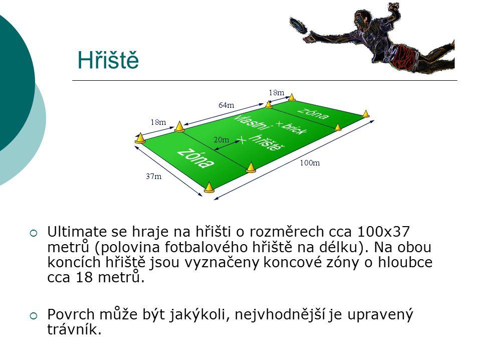 Hřiště  Ultimate se hraje na hřišti o rozměrech cca 100x37 metrů (polovina fotbalového hřiště na délku). Na obou koncích hřiště jsou vyznačeny koncov