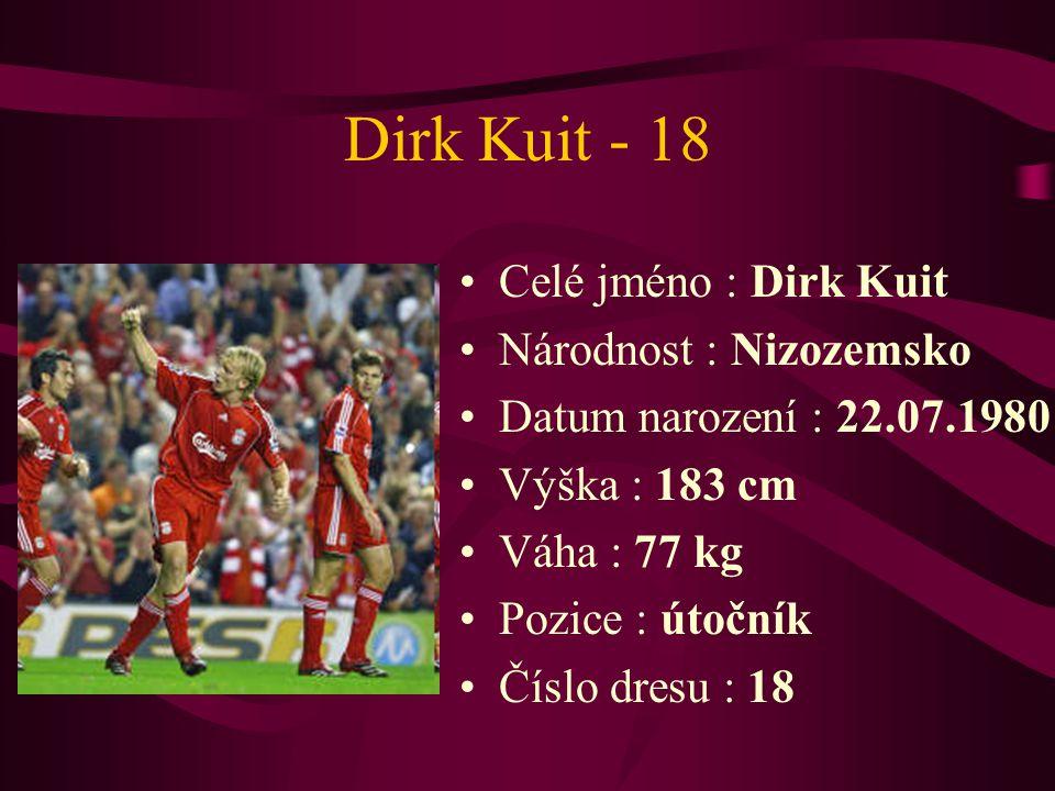 Dirk Kuit - 18 Celé jméno : Dirk Kuit Národnost : Nizozemsko Datum narození : 22.07.1980 Výška : 183 cm Váha : 77 kg Pozice : útočník Číslo dresu : 18