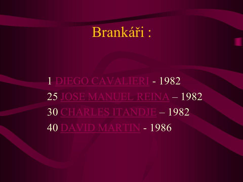 Brankáři : 1 DIEGO CAVALIERI - 1982 25 JOSE MANUEL REINA – 1982 30 CHARLES ITANDJE – 1982 40 DAVID MARTIN - 1986