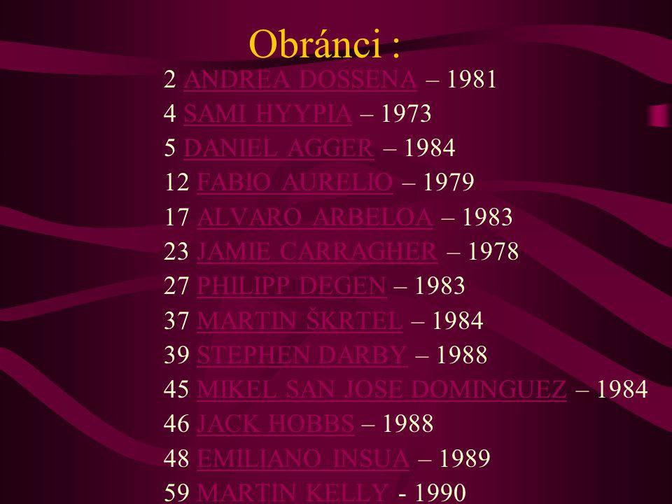 Obránci : 2 ANDREA DOSSENA – 1981 4 SAMI HYYPIA – 1973 5 DANIEL AGGER – 1984 12 FABIO AURELIO – 1979 17 ALVARO ARBELOA – 1983 23 JAMIE CARRAGHER – 197