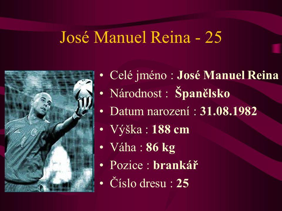 José Manuel Reina - 25 Celé jméno : José Manuel Reina Národnost : Španělsko Datum narození : 31.08.1982 Výška : 188 cm Váha : 86 kg Pozice : brankář Č