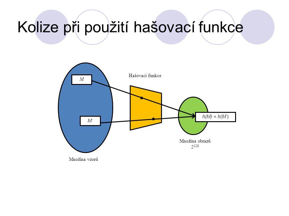 Kolize při použití hašovací funkce M M'M' Množina vzorů Množina obrazů 2 128 Hašovací funkce h(M) = h(M')
