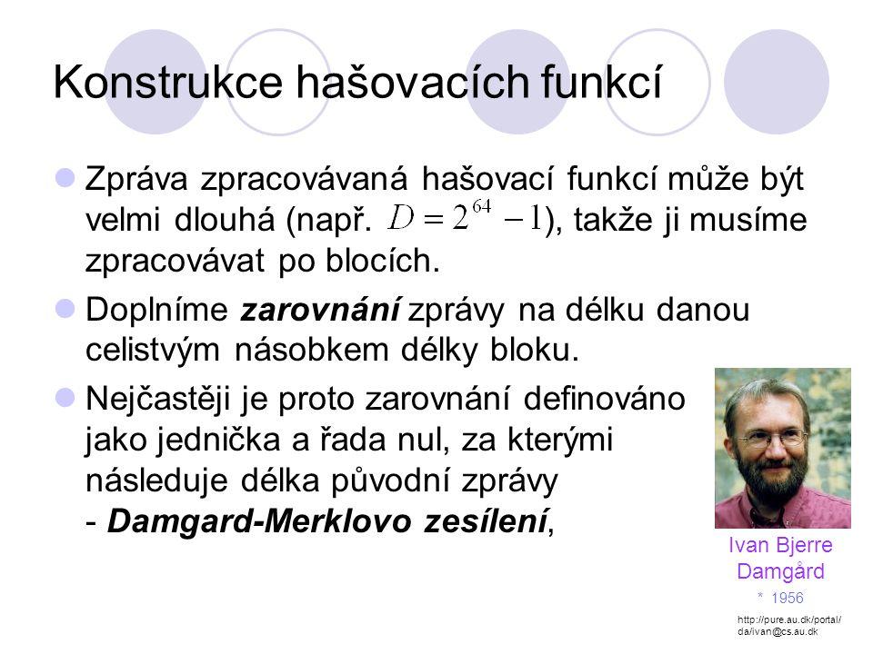 Konstrukce hašovacích funkcí Zpráva zpracovávaná hašovací funkcí může být velmi dlouhá (např.