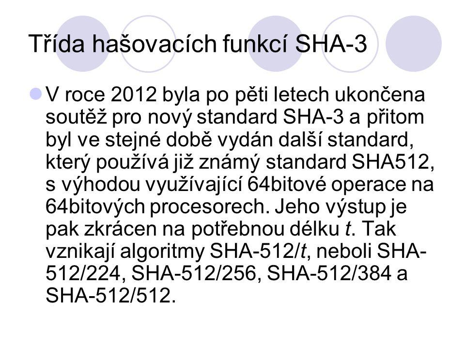 Třída hašovacích funkcí SHA-3 V roce 2012 byla po pěti letech ukončena soutěž pro nový standard SHA-3 a přitom byl ve stejné době vydán další standard, který používá již známý standard SHA512, s výhodou využívající 64bitové operace na 64bitových procesorech.