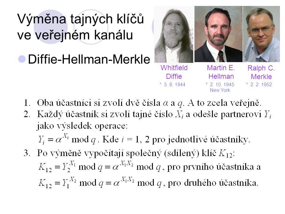 Výměna tajných klíčů ve veřejném kanálu Diffie-Hellman-Merkle Whitfield Diffie * 2.