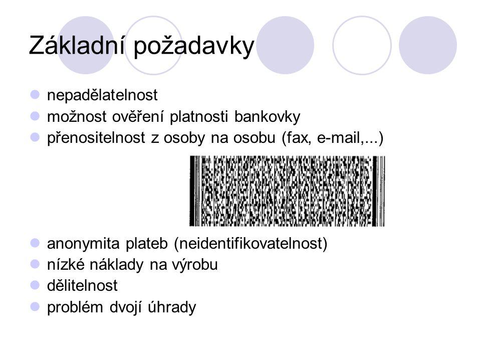Základní požadavky nepadělatelnost možnost ověření platnosti bankovky přenositelnost z osoby na osobu (fax, e-mail,...) anonymita plateb (neidentifikovatelnost) nízké náklady na výrobu dělitelnost problém dvojí úhrady