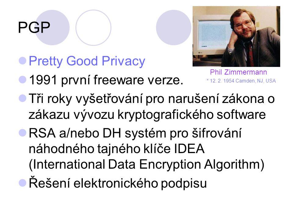 PGP Pretty Good Privacy 1991 první freeware verze.