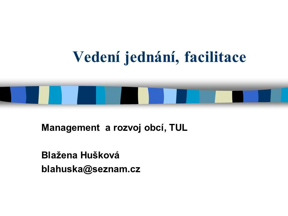 Vedení jednání, facilitace Management a rozvoj obcí, TUL Blažena Hušková blahuska@seznam.cz