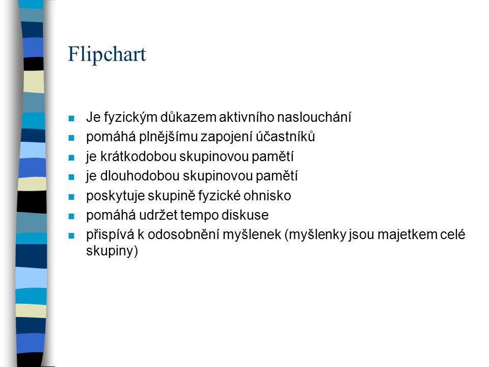 Flipchart n Je fyzickým důkazem aktivního naslouchání n pomáhá plnějšímu zapojení účastníků n je krátkodobou skupinovou pamětí n je dlouhodobou skupin