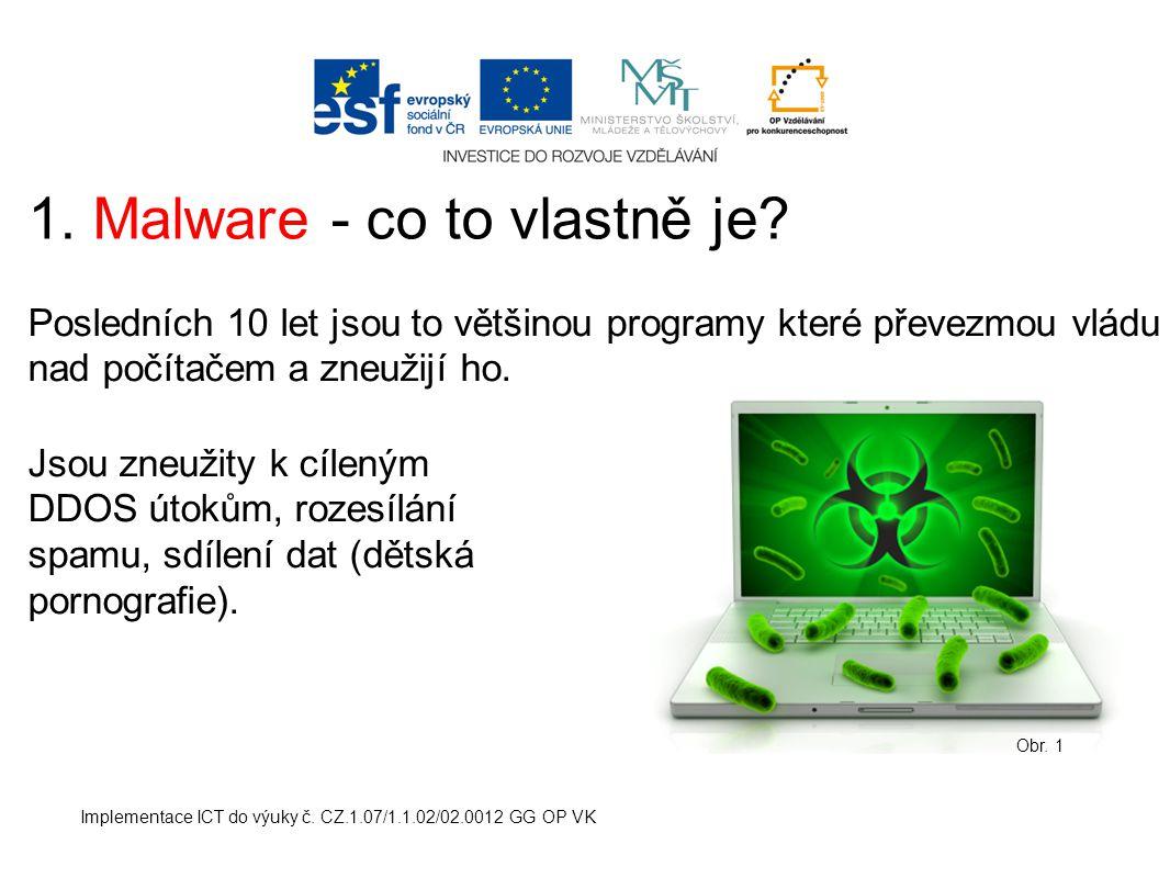 Implementace ICT do výuky č. CZ.1.07/1.1.02/02.0012 GG OP VK 1. Malware - co to vlastně je? Posledních 10 let jsou to většinou programy které převezmo
