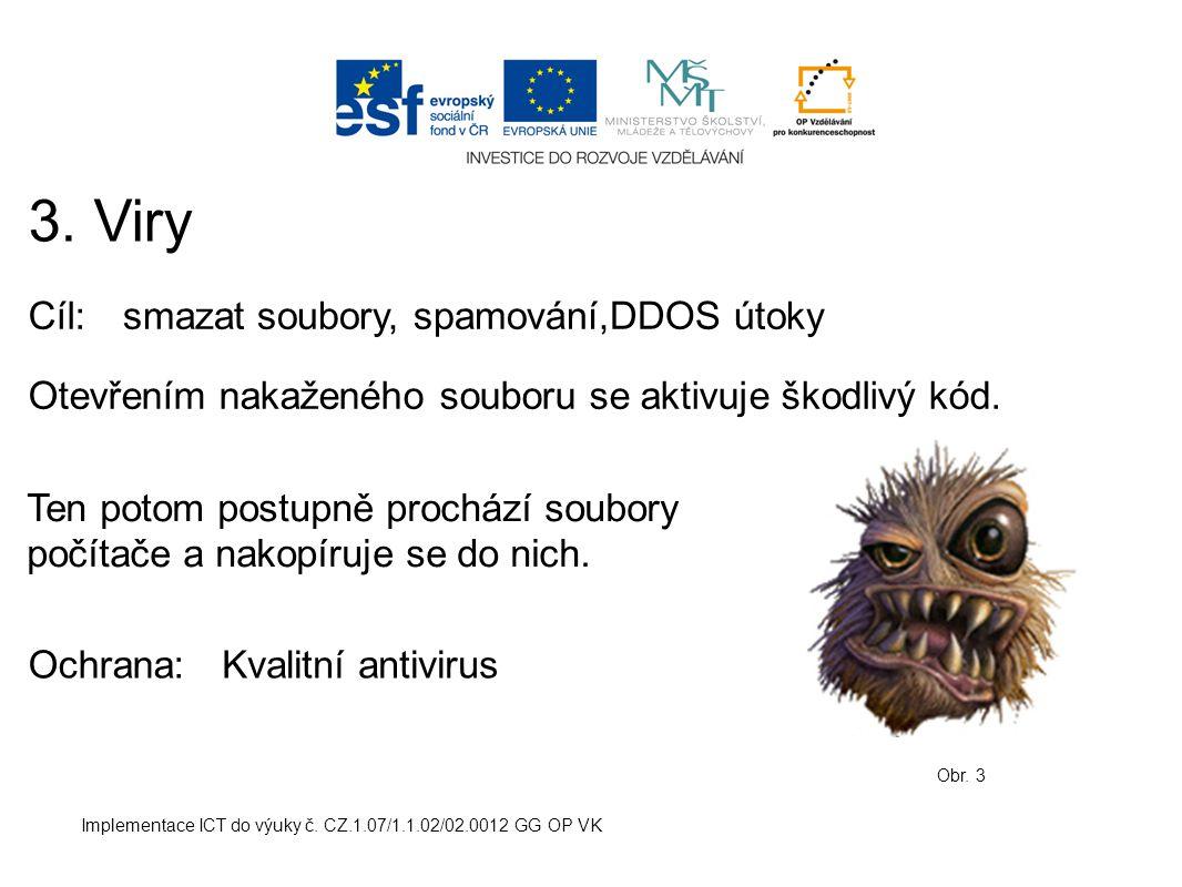 Implementace ICT do výuky č. CZ.1.07/1.1.02/02.0012 GG OP VK 3. Viry Obr. 3 Cíl:smazat soubory, spamování,DDOS útoky Ochrana: Otevřením nakaženého sou