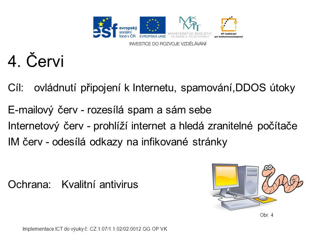 Implementace ICT do výuky č. CZ.1.07/1.1.02/02.0012 GG OP VK 4. Červi Obr. 4 Cíl:ovládnutí připojení k Internetu, spamování,DDOS útoky Ochrana: E-mail
