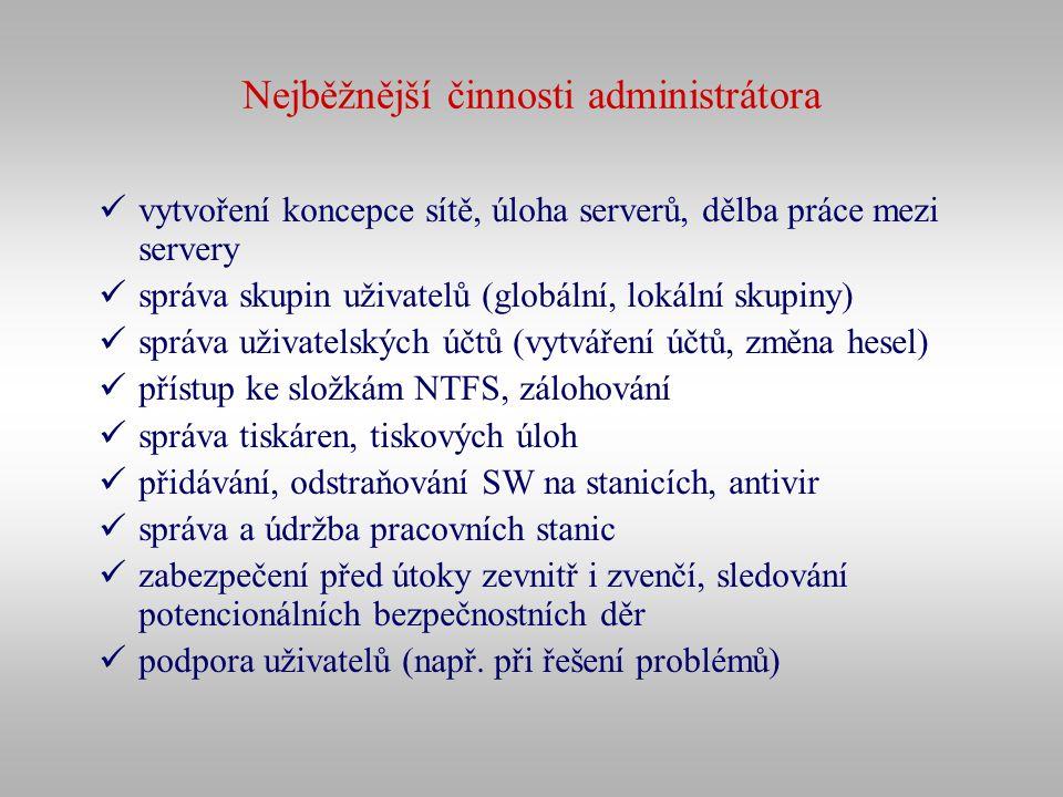 Nejběžnější činnosti administrátora vytvoření koncepce sítě, úloha serverů, dělba práce mezi servery správa skupin uživatelů (globální, lokální skupin