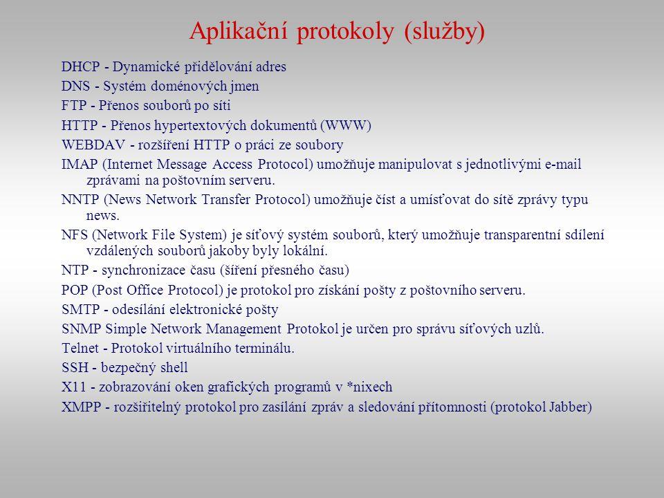 Aplikační protokoly (služby) DHCP - Dynamické přidělování adres DNS - Systém doménových jmen FTP - Přenos souborů po síti HTTP - Přenos hypertextových