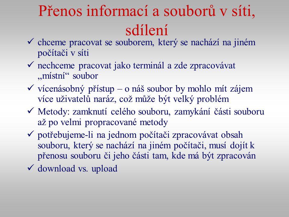 Přenos informací a souborů v síti, sdílení chceme pracovat se souborem, který se nachází na jiném počítači v síti nechceme pracovat jako terminál a zd
