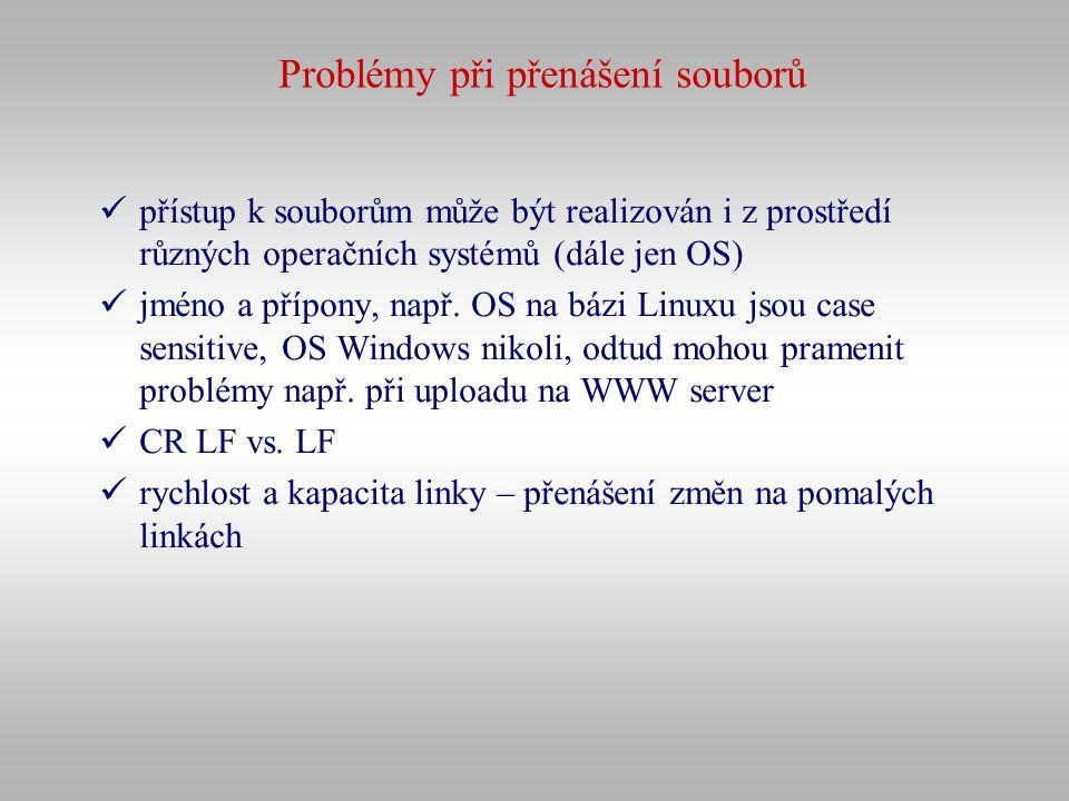 Problémy při přenášení souborů přístup k souborům může být realizován i z prostředí různých operačních systémů (dále jen OS) jméno a přípony, např. OS