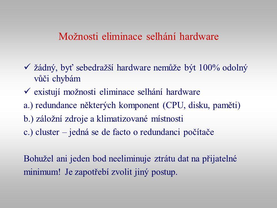 Možnosti eliminace selhání hardware žádný, byť sebedražší hardware nemůže být 100% odolný vůči chybám existují možnosti eliminace selhání hardware a.)