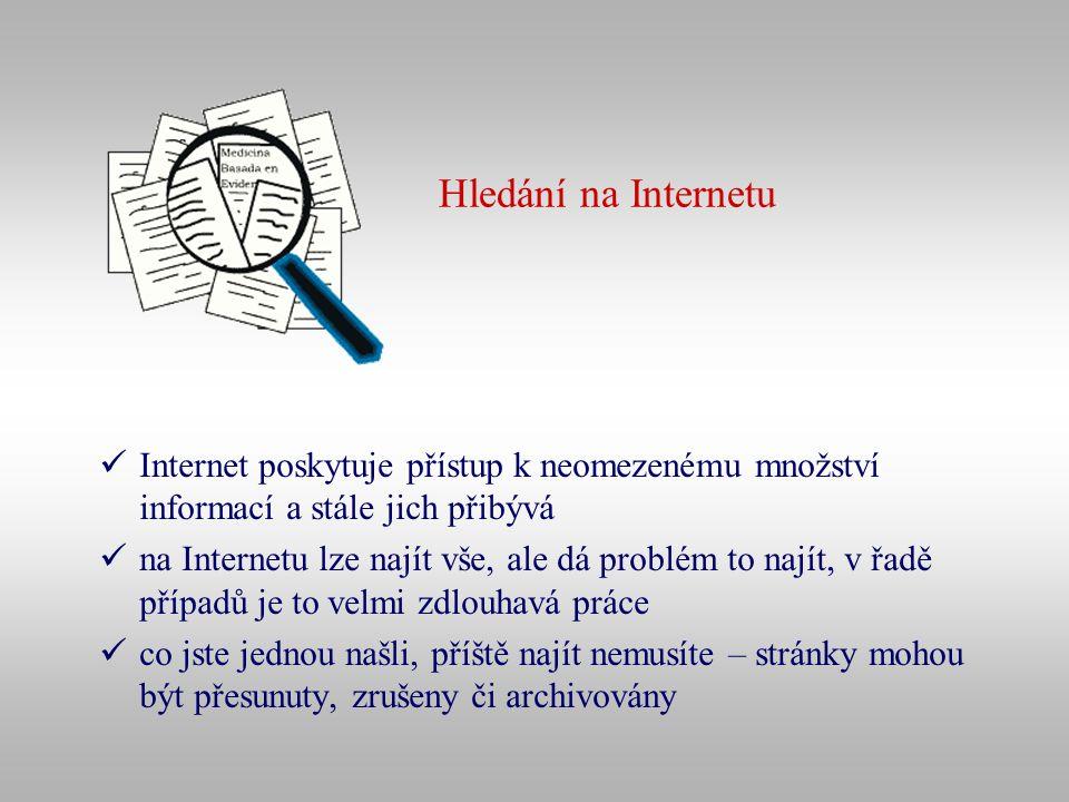 Hledání na Internetu Internet poskytuje přístup k neomezenému množství informací a stále jich přibývá na Internetu lze najít vše, ale dá problém to na