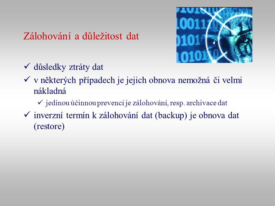 Důvody poškození či ztráty dat lidská chyba – člověk nechtěně či úmyslně vymaže data, ke kterým má přístup virus – může smazat či poškodit data, event.