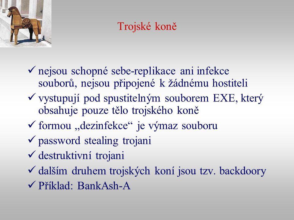 Trojské koně nejsou schopné sebe-replikace ani infekce souborů, nejsou připojené k žádnému hostiteli vystupují pod spustitelným souborem EXE, který ob