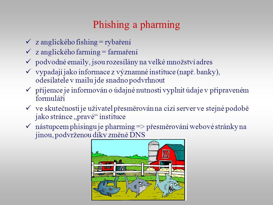 Phishing a pharming z anglického fishing = rybaření z anglického farming = farmaření podvodné emaily, jsou rozesílány na velké množství adres vypadají