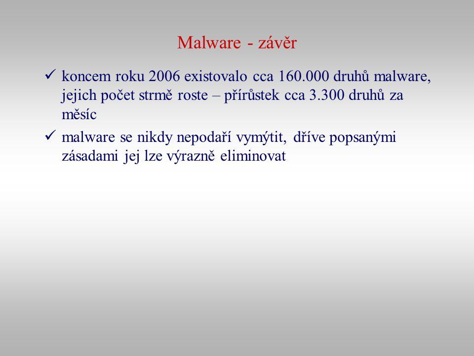 Malware - závěr koncem roku 2006 existovalo cca 160.000 druhů malware, jejich počet strmě roste – přírůstek cca 3.300 druhů za měsíc malware se nikdy