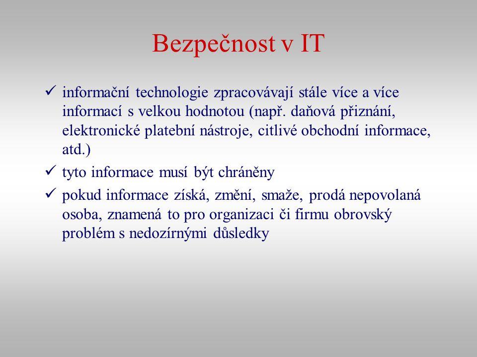 Bezpečnost v IT informační technologie zpracovávají stále více a více informací s velkou hodnotou (např. daňová přiznání, elektronické platební nástro