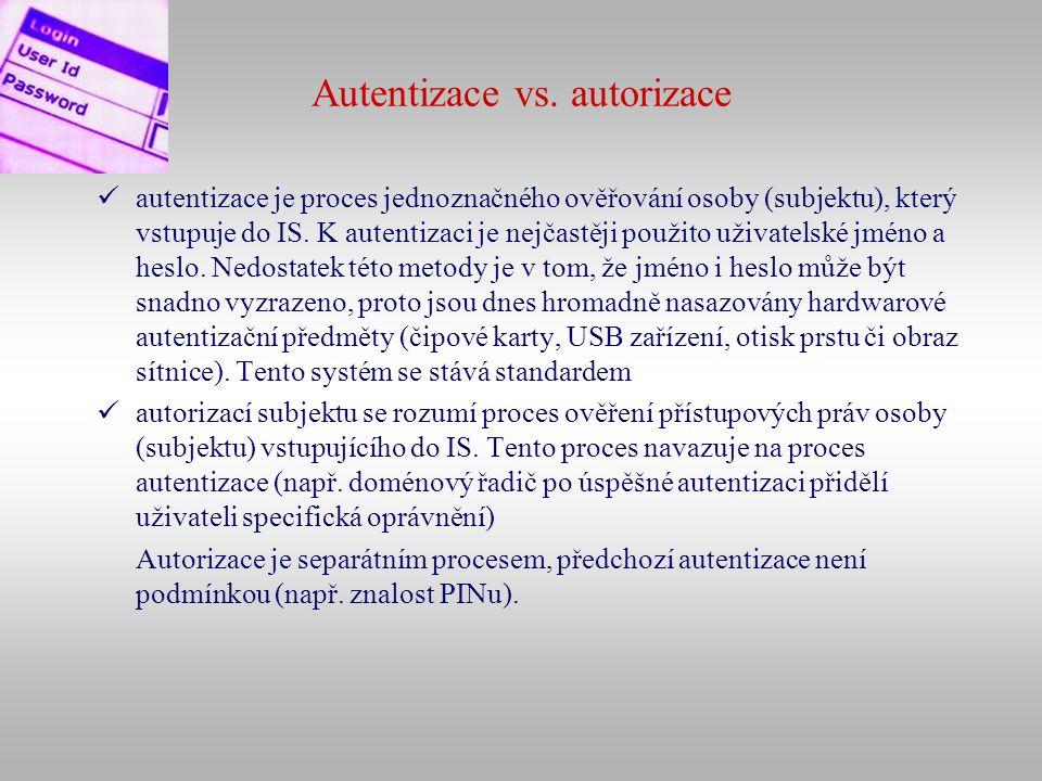 Autentizace vs. autorizace autentizace je proces jednoznačného ověřování osoby (subjektu), který vstupuje do IS. K autentizaci je nejčastěji použito u