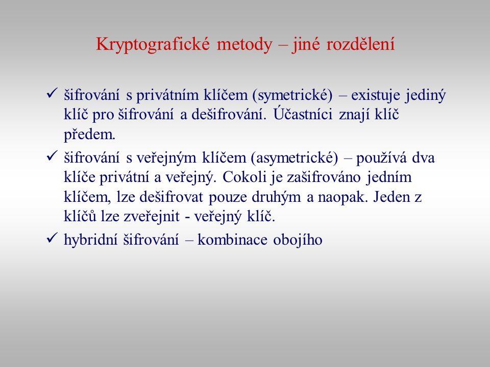 Kryptografické metody – jiné rozdělení šifrování s privátním klíčem (symetrické) – existuje jediný klíč pro šifrování a dešifrování. Účastníci znají k