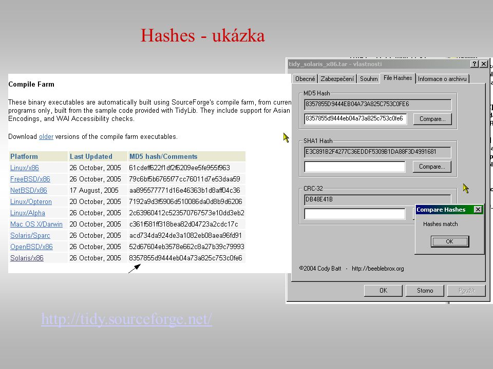 http://tidy.sourceforge.net/ Hashes - ukázka
