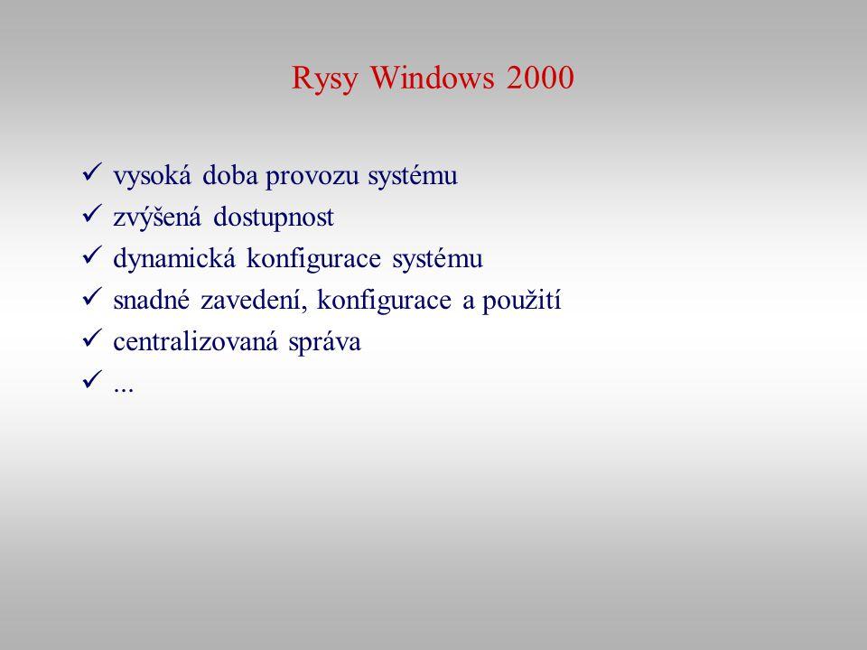 Rysy Windows 2000 vysoká doba provozu systému zvýšená dostupnost dynamická konfigurace systému snadné zavedení, konfigurace a použití centralizovaná s