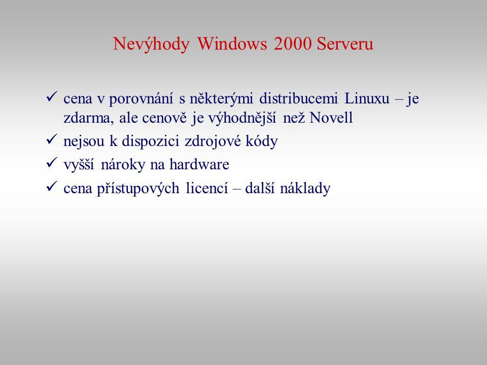 Nevýhody Windows 2000 Serveru cena v porovnání s některými distribucemi Linuxu – je zdarma, ale cenově je výhodnější než Novell nejsou k dispozici zdr