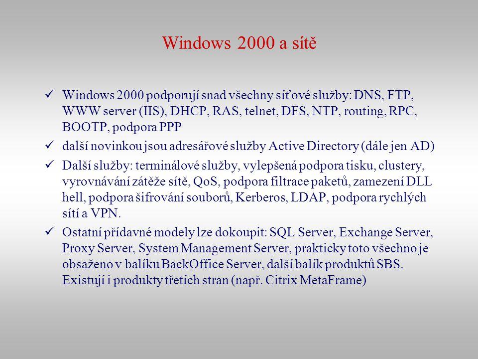 Windows 2000 a sítě Windows 2000 podporují snad všechny síťové služby: DNS, FTP, WWW server (IIS), DHCP, RAS, telnet, DFS, NTP, routing, RPC, BOOTP, p