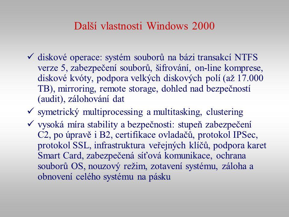 Další vlastnosti Windows 2000 diskové operace: systém souborů na bázi transakcí NTFS verze 5, zabezpečení souborů, šifrování, on-line komprese, diskov
