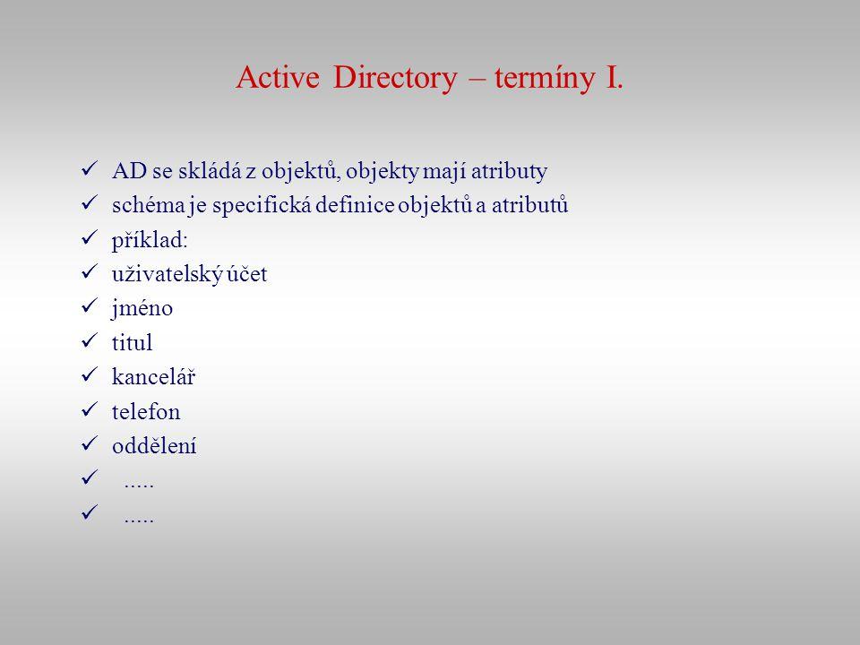 Active Directory – termíny I. AD se skládá z objektů, objekty mají atributy schéma je specifická definice objektů a atributů příklad: uživatelský účet