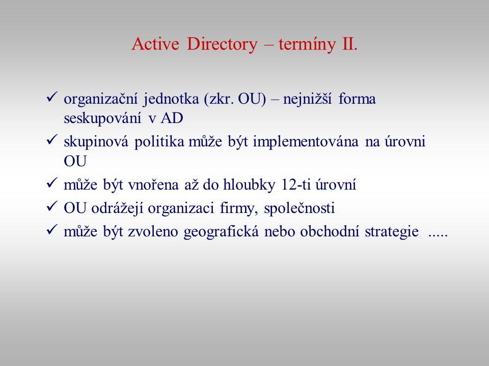 Active Directory – termíny II. organizační jednotka (zkr. OU) – nejnižší forma seskupování v AD skupinová politika může být implementována na úrovni O