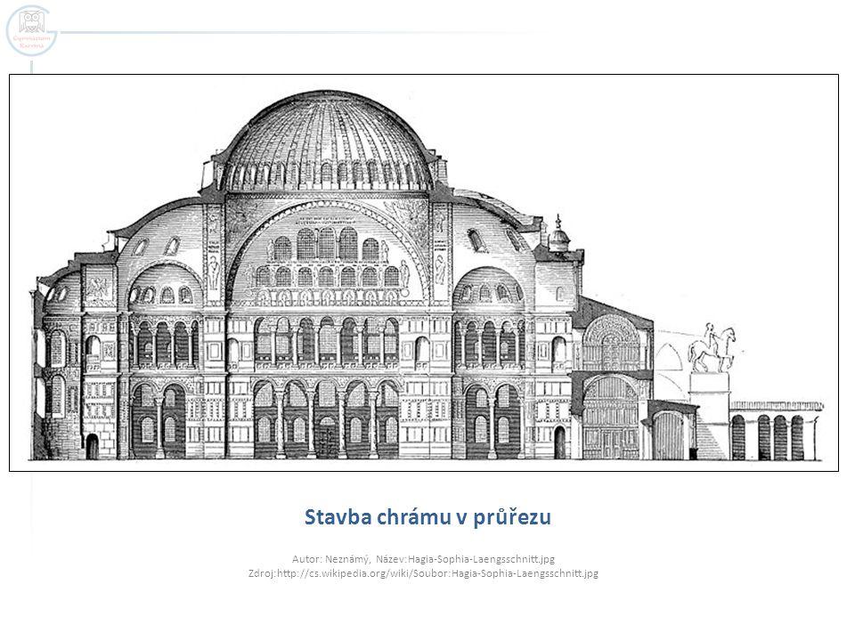 Stavba chrámu v průřezu Autor: Neznámý, Název:Hagia-Sophia-Laengsschnitt.jpg Zdroj:http://cs.wikipedia.org/wiki/Soubor:Hagia-Sophia-Laengsschnitt.jpg