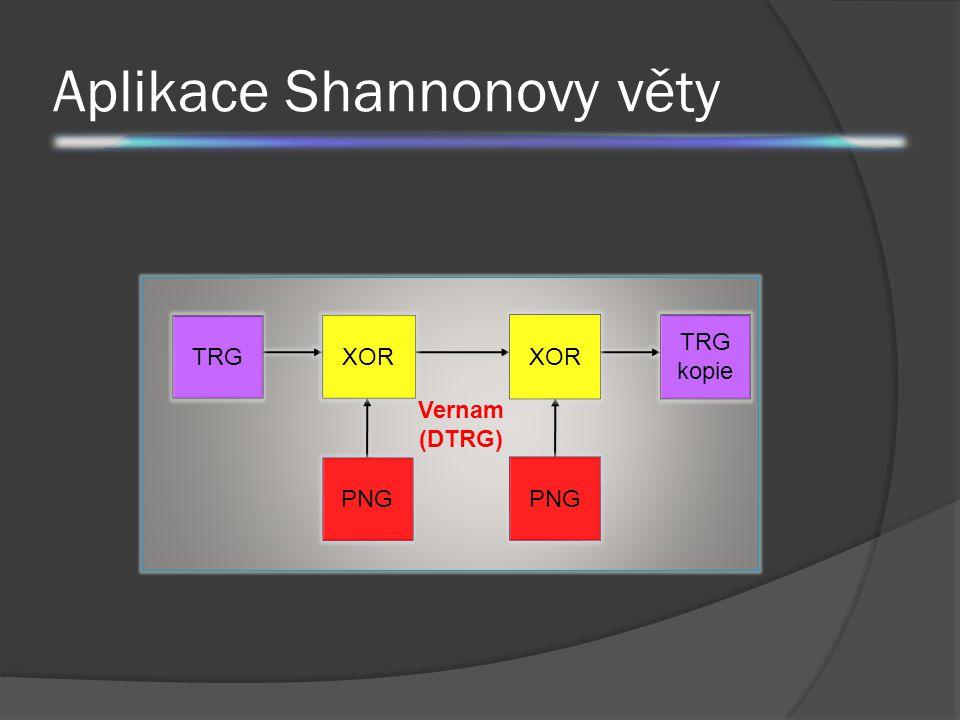 Aplikace Shannonovy věty K C XOR PNG N TRG N TRG kopie Vernam (DTRG)