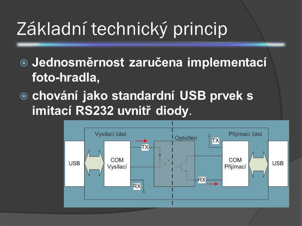 Základní technický princip  Jednosměrnost zaručena implementací foto-hradla,  chování jako standardní USB prvek s imitací RS232 uvnitř diody.
