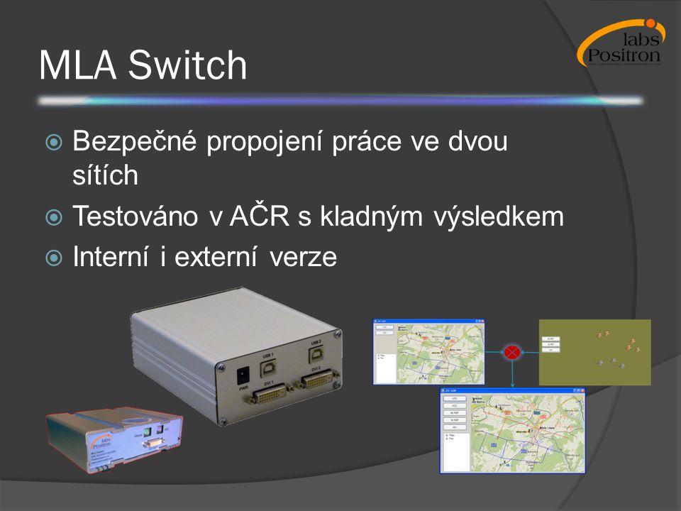 MLA Switch  Bezpečné propojení práce ve dvou sítích  Testováno v AČR s kladným výsledkem  Interní i externí verze