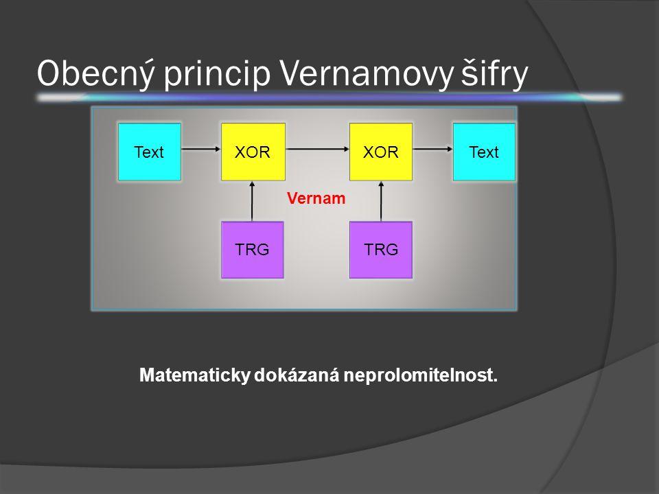 Obecný princip Vernamovy šifry N K C XOR TRG N Text N Vernam Matematicky dokázaná neprolomitelnost.