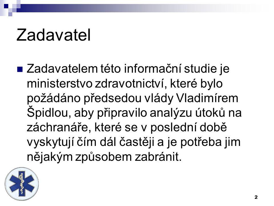 2 Zadavatel Zadavatelem této informační studie je ministerstvo zdravotnictví, které bylo požádáno předsedou vlády Vladimírem Špidlou, aby připravilo a