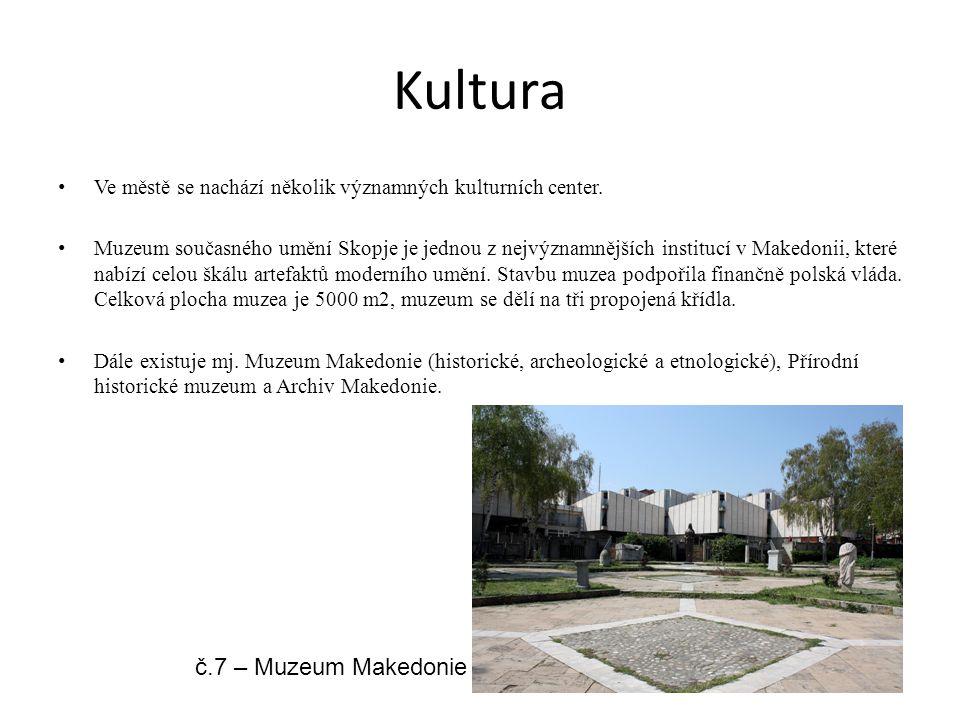 Kultura Ve městě se nachází několik významných kulturních center. Muzeum současného umění Skopje je jednou z nejvýznamnějších institucí v Makedonii, k