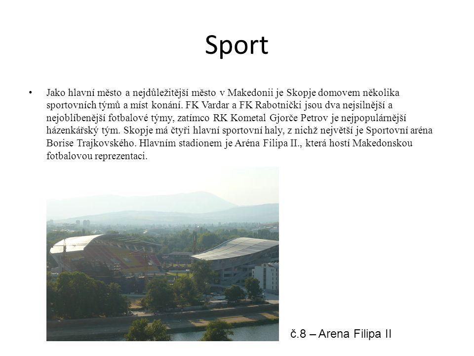Sport Jako hlavní město a nejdůležitější město v Makedonii je Skopje domovem několika sportovních týmů a míst konání.